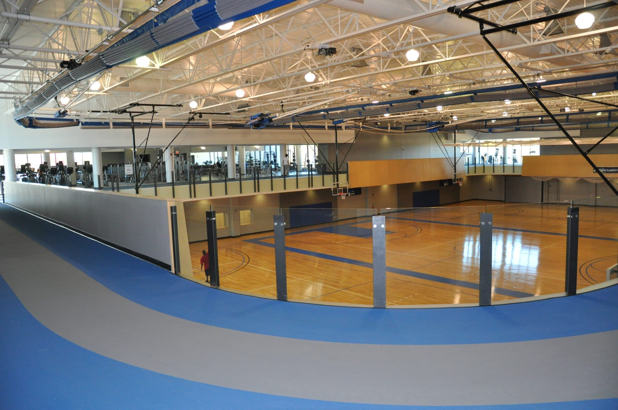 Track and lower view of basketball courts.
